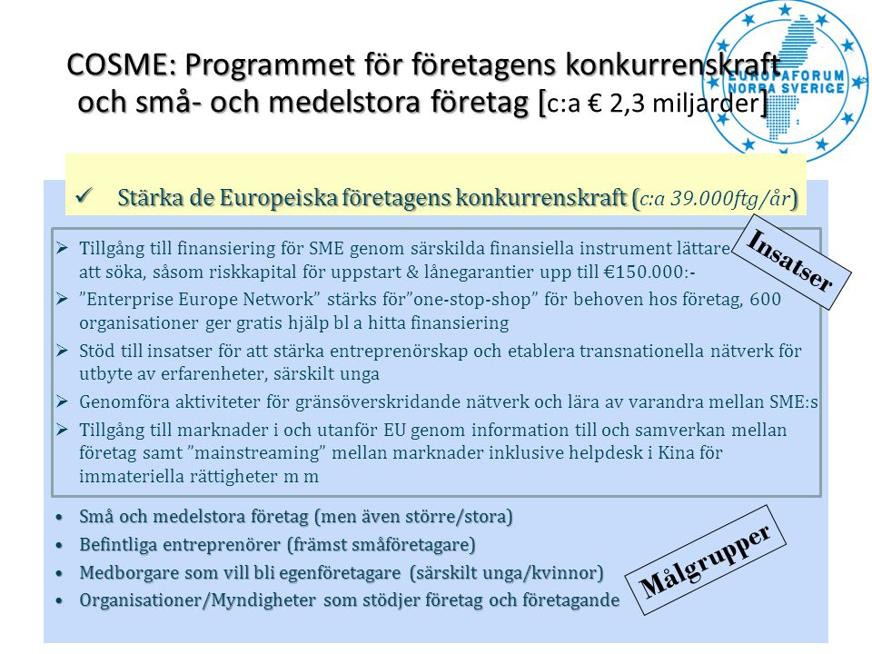 COSME: Programmet för företagens konkurrenskraft och små- och medelstora företag [c:a € 2,3 miljarder]